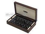 Double 6 Swarovski Crystal Black Dominoes Set - Brown Lizard Case - Item: 2480