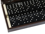 picture of Double 6 Swarovski Crystal Black Dominoes Set - Brown Lizard Case (2 of 6)
