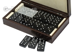 picture of Double 6 Swarovski Crystal Black Dominoes Set - Brown Lizard Case (3 of 6)