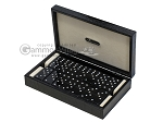 Double 6 Swarovski Crystal Black Dominoes Set - Black Croco Case - Item: 2477
