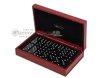 Double 6 Swarovski Crystal Black Dominoes Set - Red Croco Case - Item: 2478