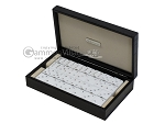 Double 6 Swarovski Crystal White Dominoes Set - Black Croco Case - Item: 2469
