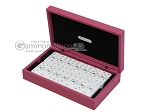 Double 6 Swarovski Crystal White Dominoes Set - Pink Leather Case - Item: 2472