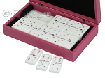 picture of Double 6 Swarovski Crystal White Dominoes Set - Pink Leather Case (3 of 6)