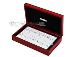 Double 6 Swarovski Crystal White Dominoes Set - Red Croco Case - Item: 2470