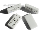 Double 6 Swarovski Crystal White Dominoes Set - Red Croco Case