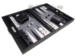picture of Hector Saxe Carbon Linen/Felt Travel Backgammon Set - Black (2 of 12)