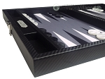 picture of Hector Saxe Carbon Linen/Felt Travel Backgammon Set - Black (5 of 12)