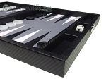 picture of Hector Saxe Carbon Linen/Felt Travel Backgammon Set - Black (6 of 12)