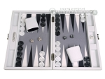 Hector Saxe Carbon Linen/Felt Travel Backgammon Set - White - Item: 3148