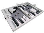 picture of Hector Saxe Carbon Linen/Felt Travel Backgammon Set - White (2 of 12)