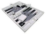 picture of Hector Saxe Carbon Linen/Felt Travel Backgammon Set - White (3 of 12)