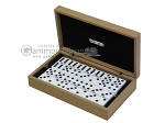 Double 6 Dominoes Set - Black Back - Beige Leather Case - Item: 2464
