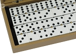 picture of Double 6 Dominoes Set - Black Back - Beige Leather Case (2 of 6)