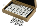 picture of Double 6 Dominoes Set - Black Back - Beige Leather Case (3 of 6)