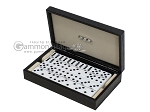 Double 6 Dominoes Set - Black Back - Black Croco Case - Item: 2461