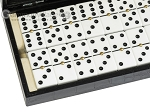 picture of Double 6 Dominoes Set - Black Back - Black Croco Case (2 of 6)