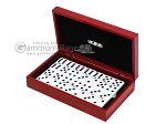 Double 6 Dominoes Set - Black Back - Red Croco Case - Item: 2462