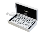 Double 6 Dominoes Set - Black Back - White Croco Case - Item: 2463