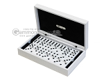 Double 6 Dominoes Set - White Croco Case - Item: 2467
