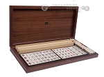 Dal Negro Grand American Mah Jong Set - Ivory Tiles - Wood Case - Burlwood - Item: 1370
