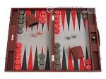 Hector Saxe Faux Snake Backgammon Set - Medium - Maroon - Item: 2496