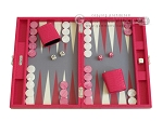 Hector Saxe Faux Lizard Travel Backgammon Set - Fuchsia - Item: 2491