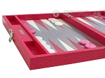 picture of Hector Saxe Faux Lizard Travel Backgammon Set - Fuchsia (5 of 12)