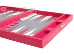 picture of Hector Saxe Faux Lizard Travel Backgammon Set - Fuchsia (6 of 12)