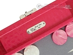 picture of Hector Saxe Faux Lizard Travel Backgammon Set - Fuchsia (7 of 12)