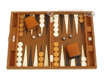 Hector Saxe Suede Leather Travel Backgammon Set - Havana - Item: 2530