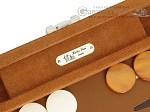 Hector Saxe Suede Leather Travel Backgammon Set - Havana