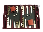 Hector Saxe Suede Leather Travel Backgammon Set - Maroon - Item: 2529