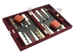 picture of Hector Saxe Suede Leather Travel Backgammon Set - Maroon (2 of 12)