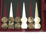 picture of Hector Saxe Suede Leather Travel Backgammon Set - Maroon (8 of 12)