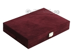 picture of Hector Saxe Suede Leather Travel Backgammon Set - Maroon (12 of 12)