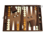 Hector Saxe Faux Lizard Travel Backgammon Set - Brown - Item: 2489