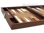 picture of Hector Saxe Faux Croco Travel Backgammon Set - Brown (5 of 12)