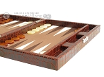 picture of Hector Saxe Faux Croco Travel Backgammon Set - Brown (6 of 12)