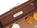 picture of Hector Saxe Faux Croco Travel Backgammon Set - Brown (7 of 12)
