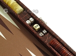 picture of Hector Saxe Faux Croco Travel Backgammon Set - Brown (9 of 12)