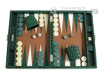 Hector Saxe Faux Croco Travel Backgammon Set - Emerald Green - Item: 2516