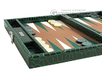 picture of Hector Saxe Faux Croco Travel Backgammon Set - Emerald Green (5 of 12)