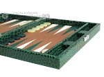 picture of Hector Saxe Faux Croco Travel Backgammon Set - Emerald Green (6 of 12)