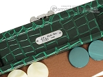 picture of Hector Saxe Faux Croco Travel Backgammon Set - Emerald Green (7 of 12)