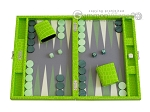 Hector Saxe Faux Croco Travel Backgammon Set - Flashy Green - Item: 2514