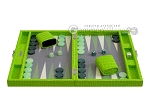 Hector Saxe Faux Croco Travel Backgammon Set - Flashy Green