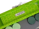 picture of Hector Saxe Faux Croco Travel Backgammon Set - Flashy Green (7 of 12)