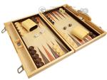 15-inch Wood Backgammon Set - Olive Starburst