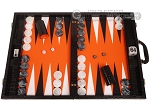 Wycliffe Brothers® Tournament Backgammon Set - Black Croco with Orange Field - Gen II - Item: 3230